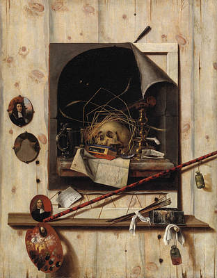 Painting - Trompe L'oeil With Studio Wall And Vanitas Still Life by Cornelis Norbertus Gysbrechts