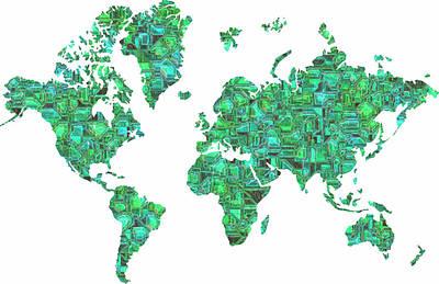 Tron Digital Art - Tron World Map by Luke Tyler