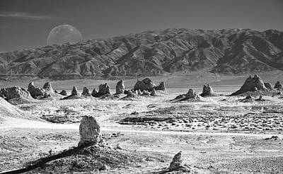 Trona Pinnacles With The Moon Art Print