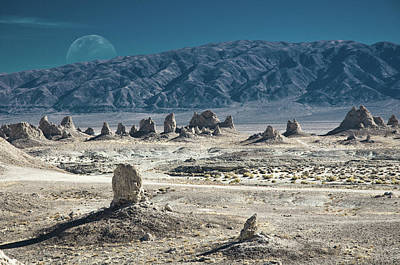 Photograph - Trona Pinnacles With The Rising Moon by Marius Sipa