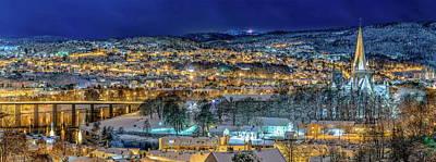 Trondheim Panorama In The Winter Time Art Print by Aziz Nasuti