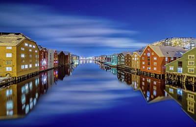 Impressionist Landscapes - Trondheim Silky Winter Night  by Aziz Nasuti