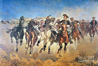 Charge Painting - Troopers Moving by Frederic Remington