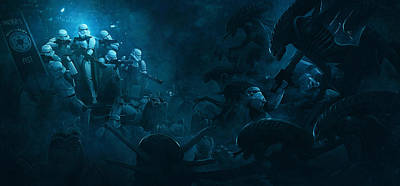 Troopers Vs Space Cockroaches 1 Art Print by Guillem H Pongiluppi