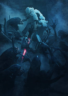 Vader Painting - Troopers Vs Space Cockroaches 2 by Guillem H Pongiluppi