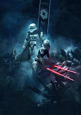 Troopers Vs Space Cockroaches 4 Art Print by Guillem H Pongiluppi