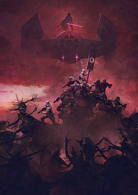 Troopers Vs Space Cockroaches 7 Art Print by Guillem H Pongiluppi