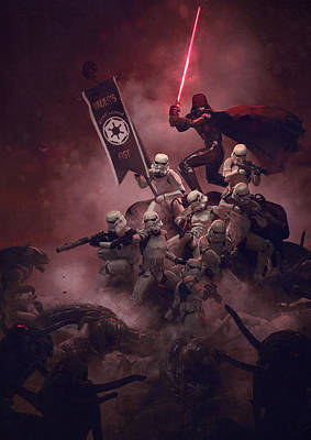 Troopers Vs Space Cockroaches 8 Art Print by Guillem H Pongiluppi