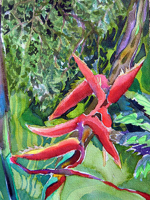 Franklin Park Conservatory Drawing - Tropcial Red Flora by Mindy Newman