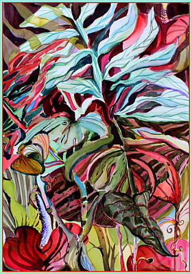 Abstract Wildlife Drawing - Tropcial Red by Mindy Newman