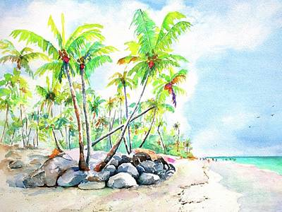 Painting - Tropical Bavaro Beach Punta Cana Dominican Republic by CarlinArt Watercolor