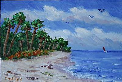 Surf The Rincon Painting - Tropical Beach by Bob Phillips
