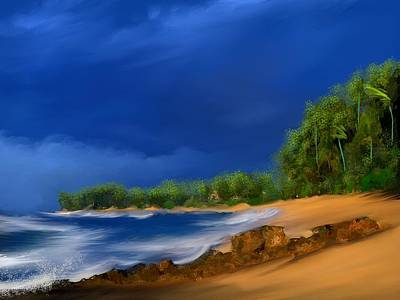 Waves Digital Art - Tropical Beach Day by Anthony Fishburne