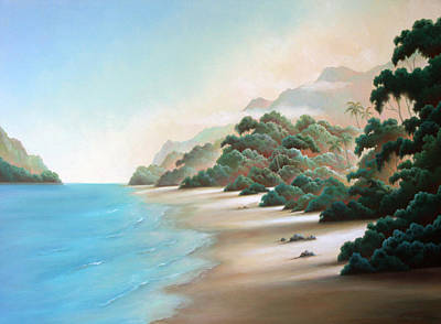 Painting - Tropical Beach Escape by Charle Hazlehurst