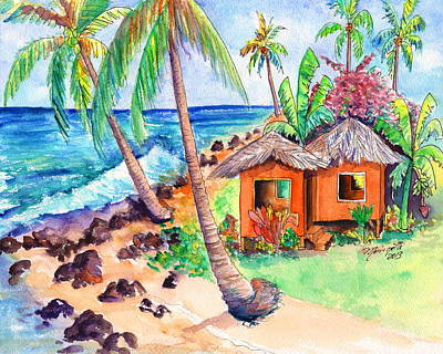 Painting - Tropical Beach Hut by Marionette Taboniar