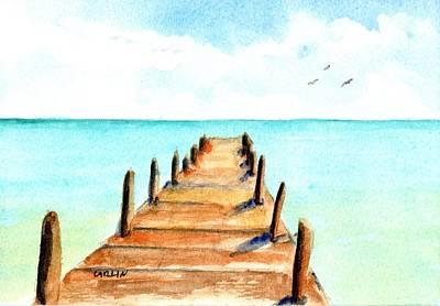 Painting - Tropical Beach Pier by Carlin Blahnik