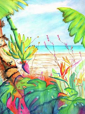 Painting - Tropical Beach Plants Ocean Front by CarlinArt Watercolor