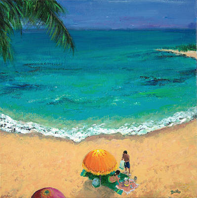 On The Beach Painting - Tropical Beach. by Sandra Delaney