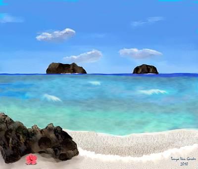 Tropical Beach Print by Tanya Van Gorder