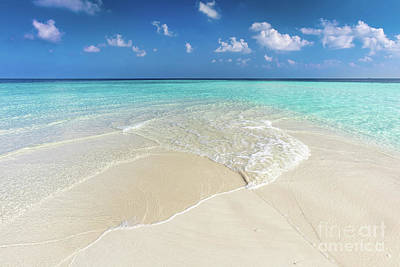 Clean Water Photograph - Tropical Beach With White Sand And Clear Turquoise Ocean. Maldives by Michal Bednarek