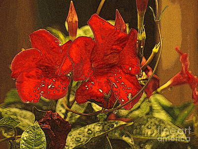 Photograph - Tropical Beauty - Red Flowers April Showers by Miriam Danar