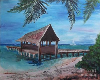 Tropical Boathouse Art Print by Judy Via-Wolff