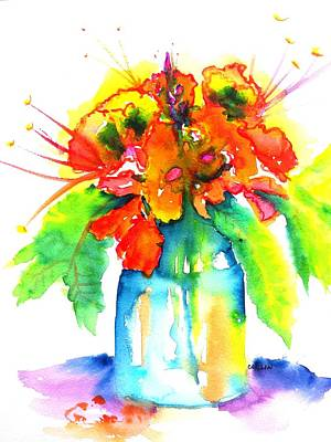 Painting - Tropical Bouquet In Blue Glass Vase  by Carlin Blahnik CarlinArtWatercolor