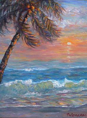 Painting - Tropical Coastal Beach Palm Tree Sunset Painting by Amber Palomares