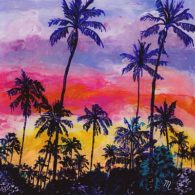 Kauai Artist Painting - Tropical Coconut Trees by Marionette Taboniar