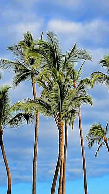 Mixed Media - Tropical Coconut Trees by Pamela Walton