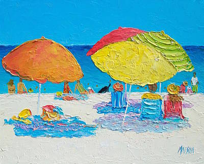 Abstract People Painting - Tropical Colors - Beach Painting by Jan Matson