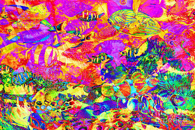 Photograph - Tropical Coral Reef Fish In Abstract 20160923 by Wingsdomain Art and Photography