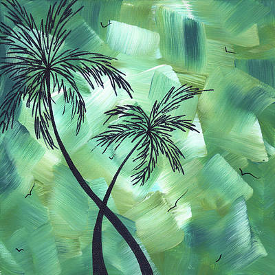 Bamboo Wall Painting - Tropical Dance 3 By Madart by Megan Duncanson