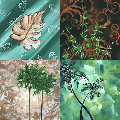Bamboo Painting - Tropical Dance Square By Madart by Megan Duncanson