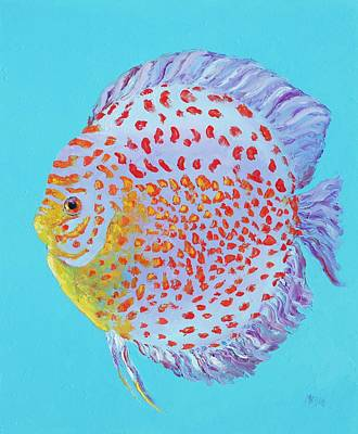 Painting - Tropical Discus Fish With Red Spots by Jan Matson