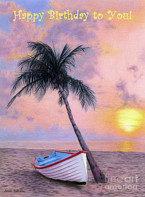 Beach Landscape Drawing - Tropical Escape- Happy Birthday To You Cards by Sarah Batalka