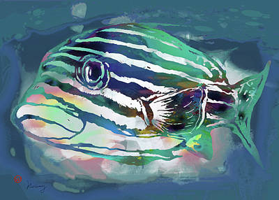 Neon Mixed Media - Tropical Fish - New Pop Art Poster by Kim Wang