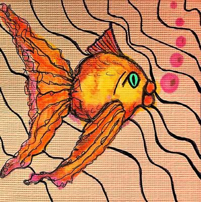 Mixed Media - Tropical Fish Pink Orange by Renee Marie Martinez