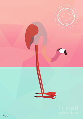 Geometric Animal Digital Art - Tropical Flamingo by Mark Ashkenazi