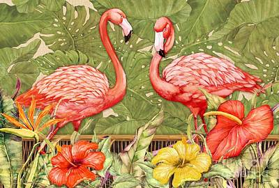 Flamingos Painting - Tropical Flamingo by Paul Brent