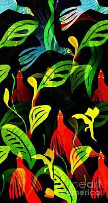 Flower Child Mixed Media - Tropical Flock by Sarah Loft