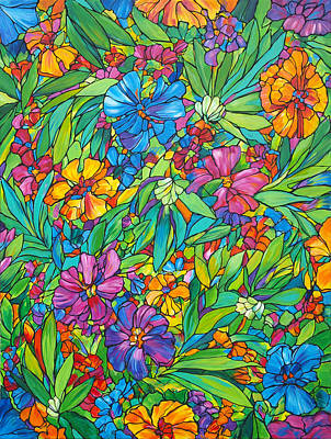 Tropical Colors Stain Glass Painting - Tropical Floral Fabric by Judi Krew