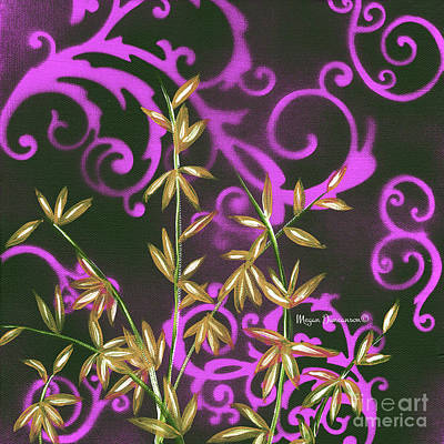 Painting - Tropical Floral Leaves Fine Art Painting In Magenta And Black By Megan Duncanson by Megan Duncanson