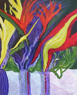 Interior Still Life Mixed Media - Tropical Floral by Sharon Eng