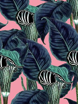 Tropical Flower Pattern Art Print by Uma Gokhale