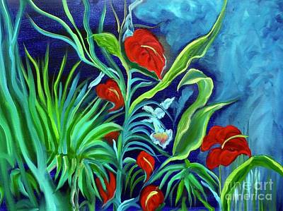 Painting - Tropical Flowers 1 by Jenny Lee