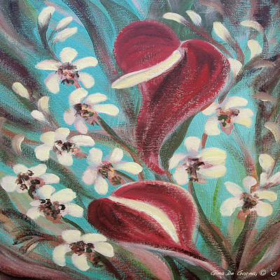 Painting - Tropical Flowers 3 by Gina De Gorna