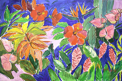 Wall Art - Painting - Tropical Flowers by Sally Huss