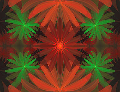 Floral Digital Art Digital Art Digital Art - Tropical Flowers by Sandy Keeton