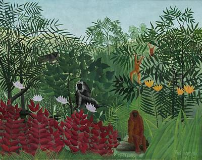 Painting - Tropical Forest With Monkeys by Henri Rousseau